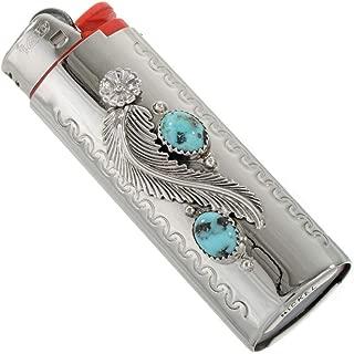 Natural Kingman Turquoise Silver Lighter Case Cover Sterling Flower Leaf 0045
