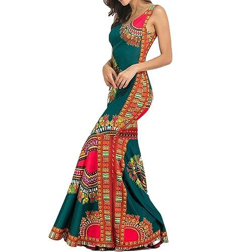 d1f47a33458 Women s Summer African Print Dashiki Long Maxi Tank Tops Dress Hem Fold  Skirt