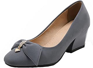 VogueZone009 Women's Pull-On PU Square Closed Toe Kitten-Heels Solid Pumps-Shoes