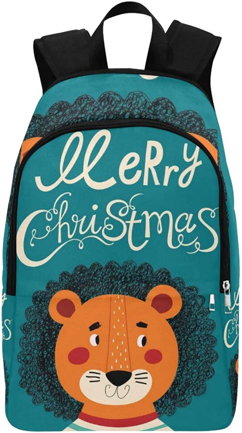 Christmas Lion Casual Daypack Travel Bag College School Backpack for Mens and Women