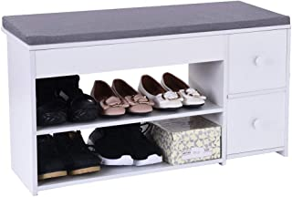 US Fast Shipment Quaanti 2 Tier Shoe Rack Foot Stool with Cushion,Shoes Bench Entryway Storage Shoe Rack Storage Organizer,Foot Stool with Storage Drawer for Bedroom Living Room Hallway (Warm White)