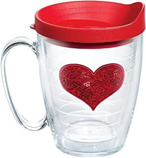 Tervis 1105480 Red Sequins Heart Tumbler with Emblem and Red Lid 16oz Mug, Clear