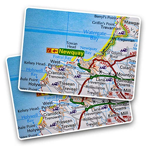 Awesome Rectangle Stickers(Set of 2) 7.5cm - Newquay Holiday England Travel UK GB Fun Decals for Laptops,Tablets,Luggage,Scrap Booking,Fridges,Cool Gift #45865