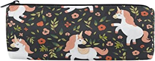 ALAZA Unicorn Floral Flowers Cylinder Pencil Case Holder Zipper Large Capacity Pen Bag Pouch Students Stationery Cosmetic Makeup Bag
