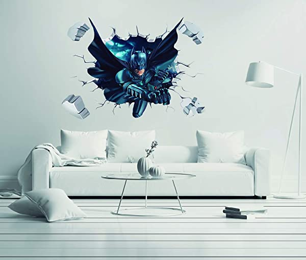 Batman 3D Smashed Wall Effect Wall Decal For Home Nursery Kids Decoration Wide 30 X21 Height