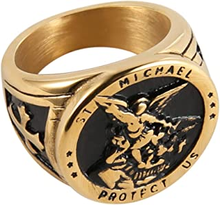 St. Michael San Miguel The Great Protector Archangel Defeating Satan Figurine Stainless Steel Amulet Ring