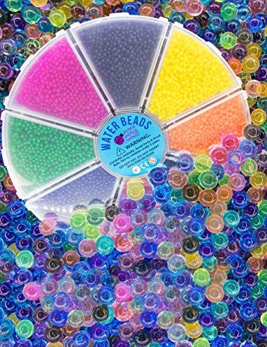 Purple Ladybug Non Toxic Water Beads for Kids in a Cool Storage Container - 8 Separate Colors, Fully Certified, Tested BPA & Phthalate Free! Fun Sensory Toys for Children, Great Gift for Girls & Boys!