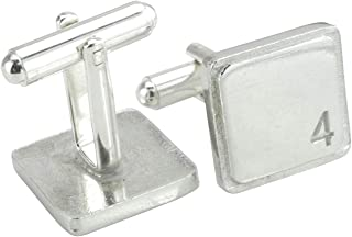 Square Cufflinks with '4' Engraved - 4th Anniversary