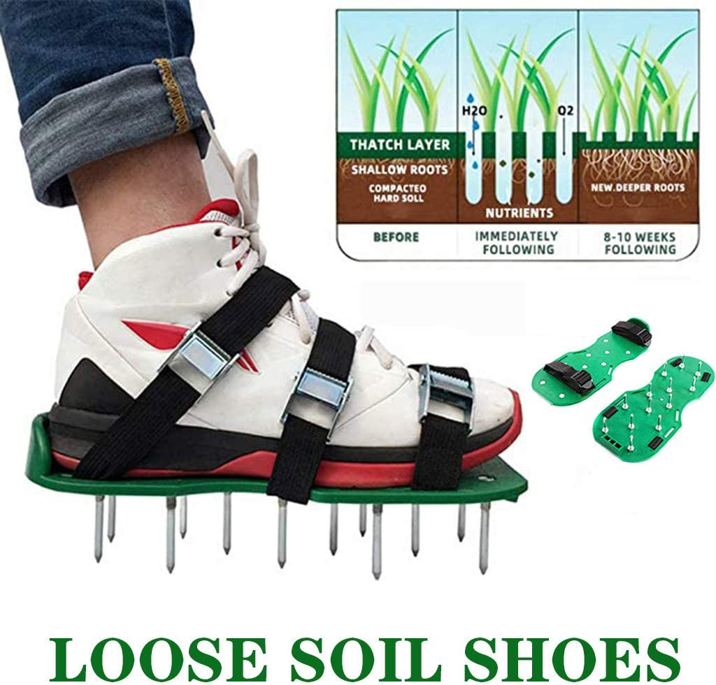 Haokanba Lawn Aerator Shoes Colorado Springs Mall with Hook Loop Straps New All Uni All items free shipping