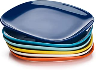 Sweese 152.002 Porcelain Square Dinner Plates - 10 Inch - Set of 6, Hot Assorted Colors