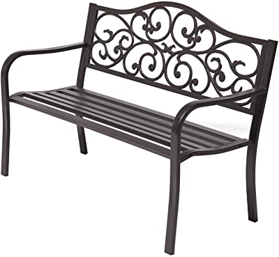 "Laurel Canyon 50"" Outdoor Patio Bench, Cast Iron 2-Person Metal Seating with Floral Design Backrest Furniture Chair for Porch Backyard Garden Pool Deck, Dark Brown"