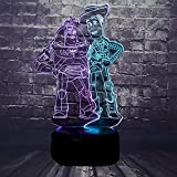 Toy Story Comic Cartoon Lamp 3D Visual Illusion Mixed Color Change Woody Bullseye Buzz Lightyear LED Night Light for Baby Sleep Room Decor Holiday Birthday Boy Gift for Teenage(Mix Toy Stor)