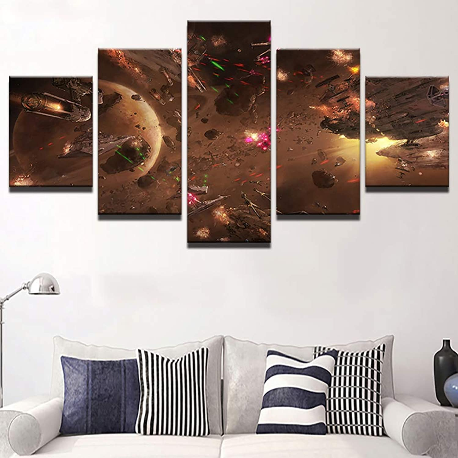 Canvas HD Prints 5 Pieces Star Wars Movie Abstract Pictures Modern Home Decor Living Room Modular Wall Art Paintings,B,30X40X230X60X230X80X1