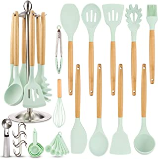 Silicone Kitchen Cooking Utensil Set, EAGMAK 16PCS Kitchen Utensils Spatula Set with Stainless Steel Stand for Nonstick Co...