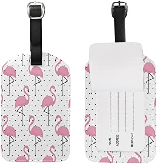 Polka Dot Pink Flamingo Luggage Tags Travel ID Bag Tag for Suitcase 1 Piece