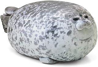 YUESUO Chubby Blob Seal Pillow, Stuffed Cotton Plush Animal Toy Cute Ocean Plush Pillows Grey Large ( 23.6 in)