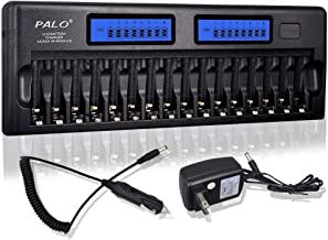 PALO 16 Bay/Slot LCD Display Smart Battery Charger for AA/AAA Ni-MH/Ni-Cd Rechargeable Batteries with Car Charger