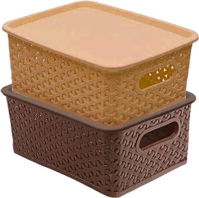 Kuber Industries Plastic 2 Pieces Medium Size Multipurpose Solitaire Storage Basket with Lid (Multi) -CTLTC010887