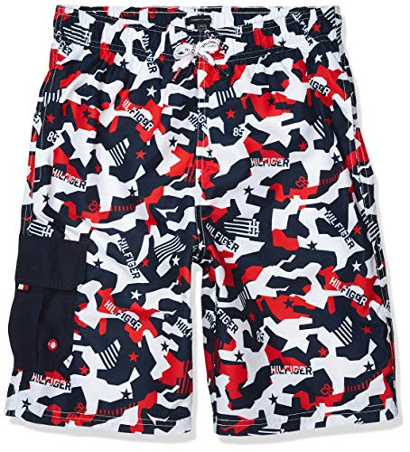 Tommy Hilfiger Boys' Swim Trunks with UPF 50+ Sun Protection, Bright White, X-Large (20)