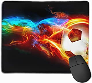 Yuotry Smooth Mouse Pad, Fire Soccer Ball Mobile Gaming Mousepad Work Mouse Pad Office Pad