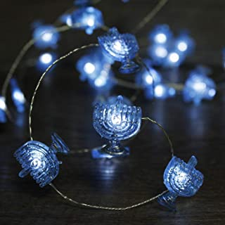 Impress Life Chanukah Decorative String Lights, 10ft 40 LED Hanukkah Menorah Twinkle Lights Battery Operated with Remote for Jews, Judaism Wedding, Synagogue, Bedroom Parties Candelabra Decorations