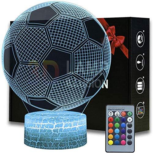 Luce notturna per bambini calcio 3D luce notturna per la camera dei bambini decorazione casa natale regali di compleanno con 16 cambiamenti di colore