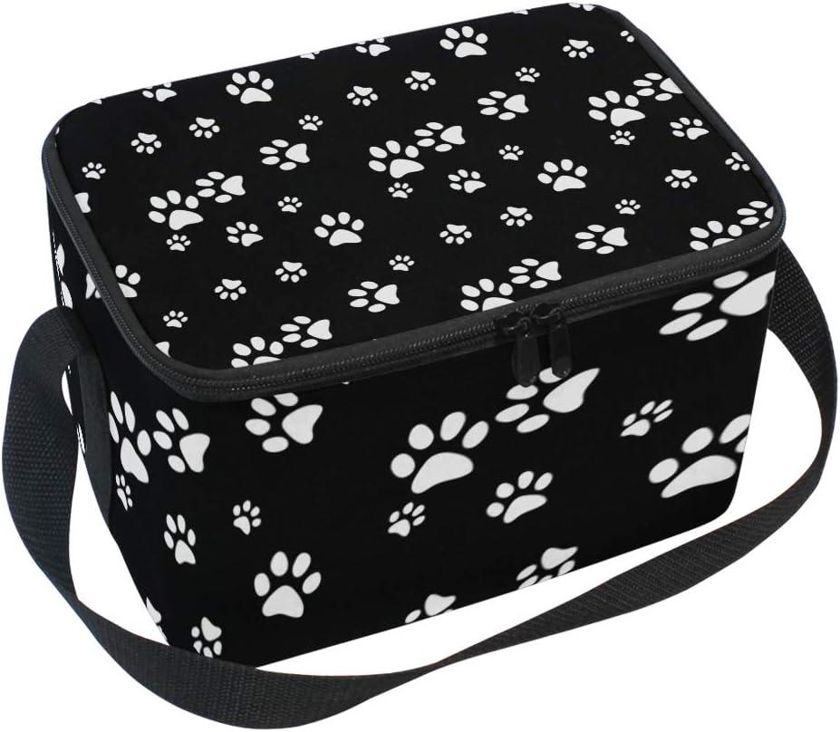 JOYPRINT Lunch Box Bag Animal Dog Memphis Mall Ins Sale White Print Black Paw Cat