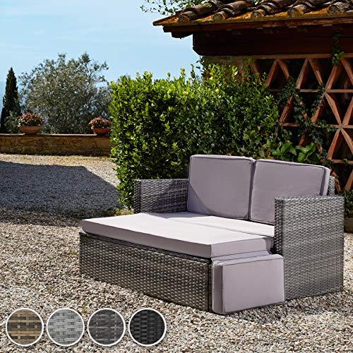 TecTake 800884 Poly Rattan Lounge Set, 2-Sitzer Sofa mit Rückenlehne, großer Hocker mit klappbarer Stütze, inkl. Dicke Auflagen, Gartenmöbel Set für Garten & Terrasse (Grau | Nr. 403884) - 3