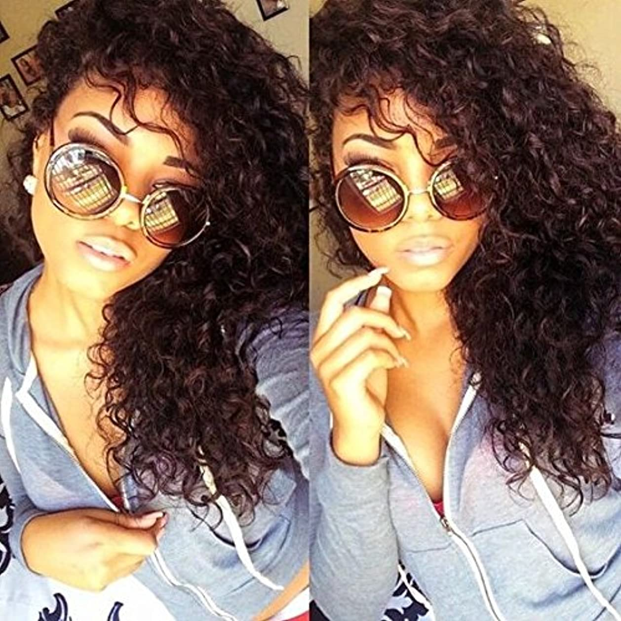 Eayon Hair Curly Full Lace Human Hair Wigs-Glueless 130% Density Brazilian Virgin Remy Wigs with Baby Hair for Women Natural Color 16Inch xwexm6758