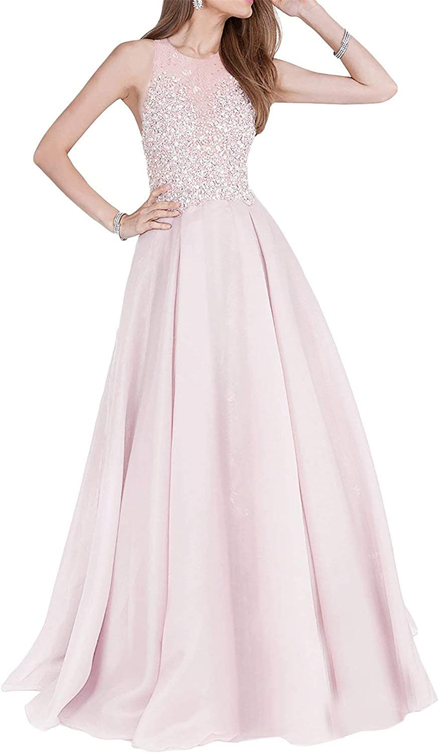 Falydal Women's Halter Beaded Prom Dress Long A Line Evening Gowns