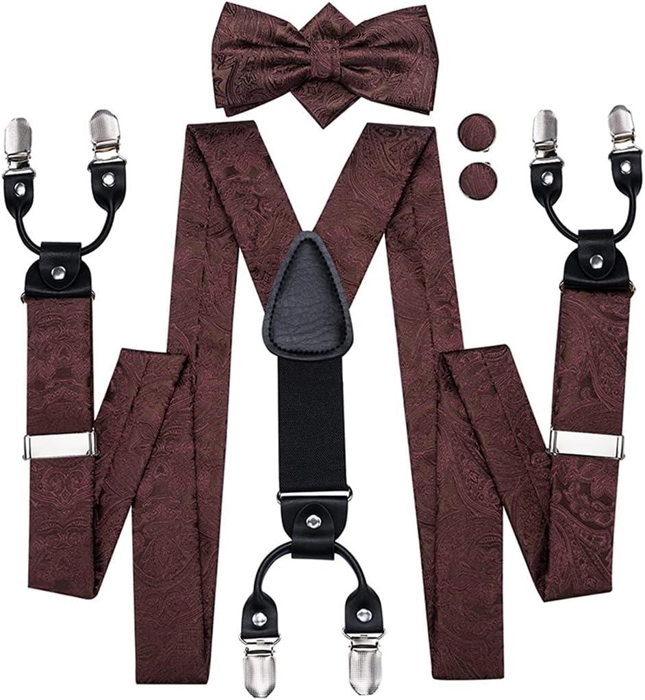 WSSBK Men's Fashion Brown Floral Suspender Set Bow tie for Men Leather 6 Clips Braces Vintage Wedding Suspender Men (Color : A, Size : Adjustable)
