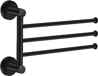 Towel Rack Bathroom Swivel Towel Bar 3 Multi Fold-able Arms Rotation Organizer Swing Towel Shelf Space Saving Hanger Kitchen Hand Towel Holder Wall Mount Stainless Rubber Matte Black MARMOLUX
