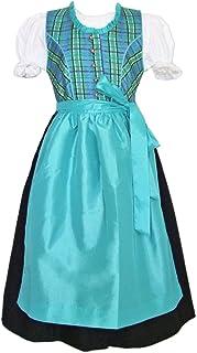 Das Trachtenland Isar Trachten Kinder Festtags Dirndl Chloe Türkis 3-TLG. - Mädchen Kleid Gr. 92-104 - 116