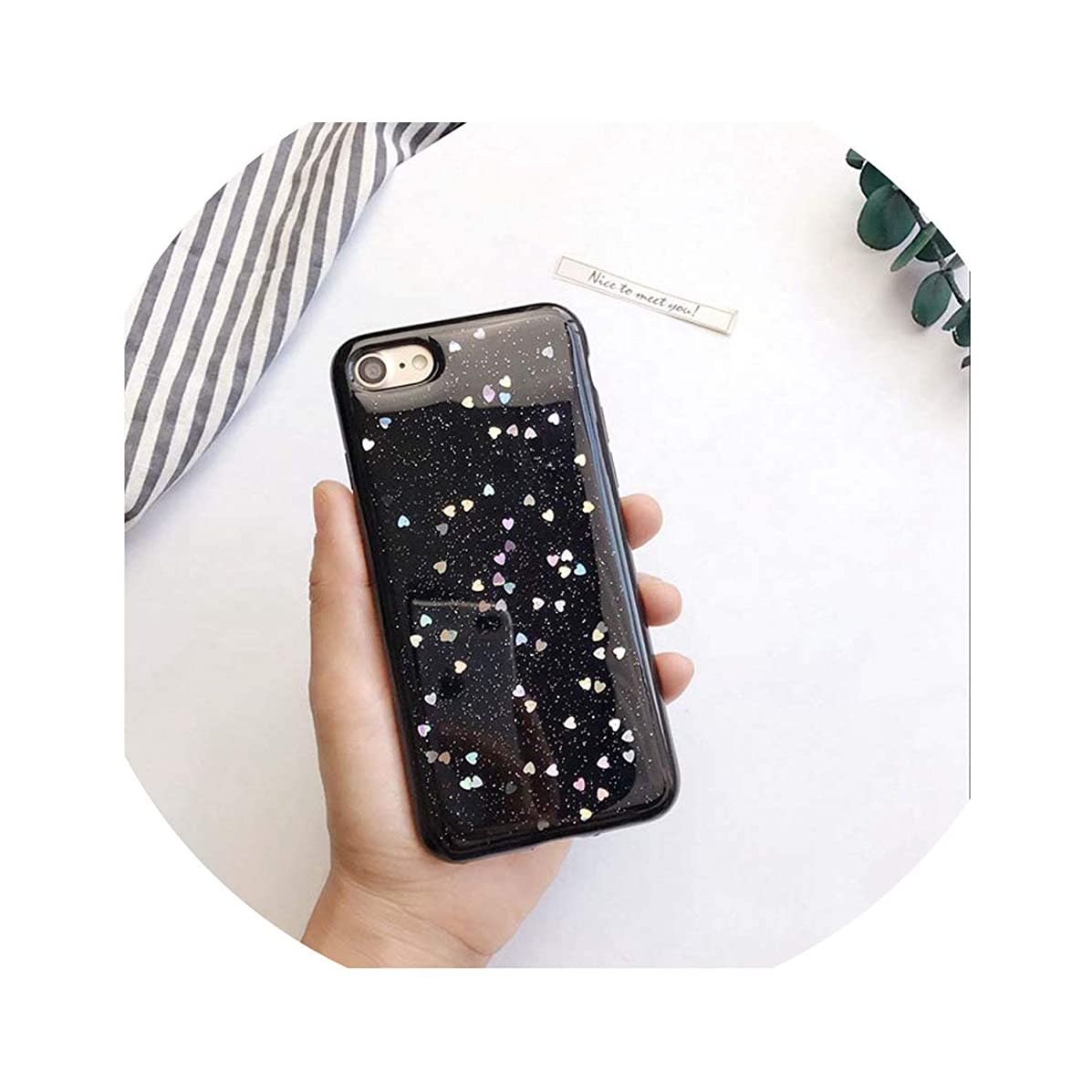 Bling Star Glitter Soft TPU Phone Cases for iPhone Xs Max XR X 8 7 6 6S Plus 5 5S SE Shimmering Powder Transparent Cover,Love Black,for iPhone Xs Max