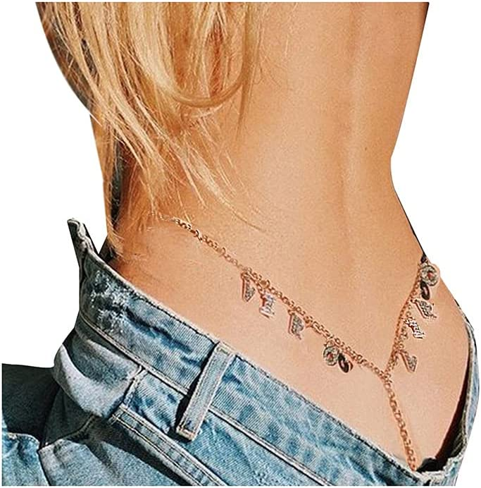 Women Sexy Rhinestone Virgo Constellations Waist Body Chain Crytal Sexy12 Constellations Letter Pendant Belly Waist Chain T-String Thong Body Jewelry