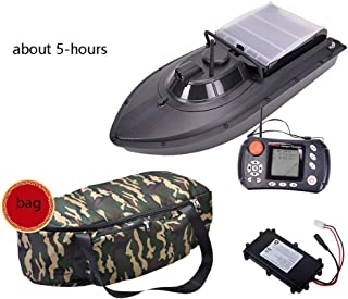 Autopilot Fish Lure Boat, GPS Sonar Fishing Bait Boat RC Boat Remote Control Wireless Fish Finder with Double Motor and Night Light,Black-B