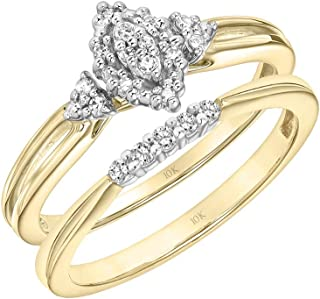 10K Yellow and White Gold 1/8 Cttw Conflict Free Diamond Marquise Halo Cluster Grooved Band Bridal Set (I-J Color, I2-I3 Clarity)
