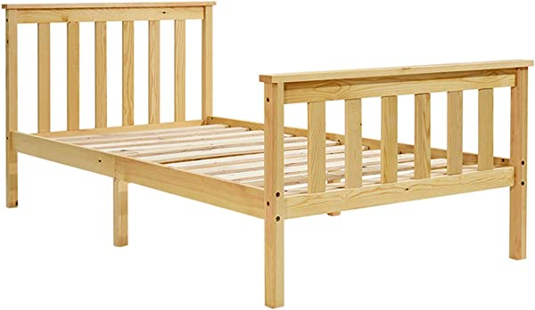 Single Bed Wooden Natural Pine Wooden Bed Frame Children Bed Minimalist 94cmX196cm