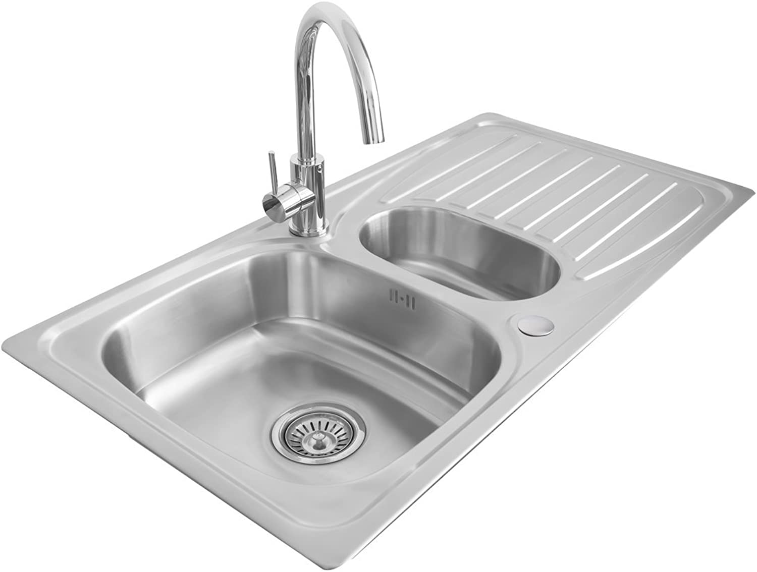Valle Taber Reversible Inset Stainless Steel Kitchen Sink 950x500mm 1.5 Bowl with Drainer + FREE Waste Kit