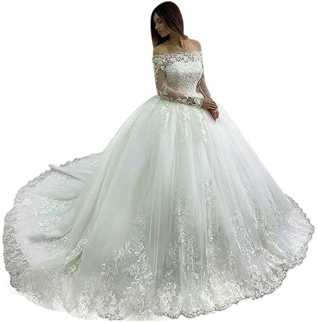 QueenBridal Women's Beautiful Off Shoulder Long Sleeves Wedding Dresses Ball Gown with Lace Appliques QU279