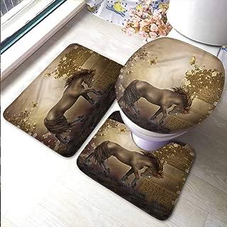 Memory Foam Bathroom Mats Set Mystic,Horse in Rose Garden Well,Thin Non-Slip Kitchen Bathroom Carpet Colorful