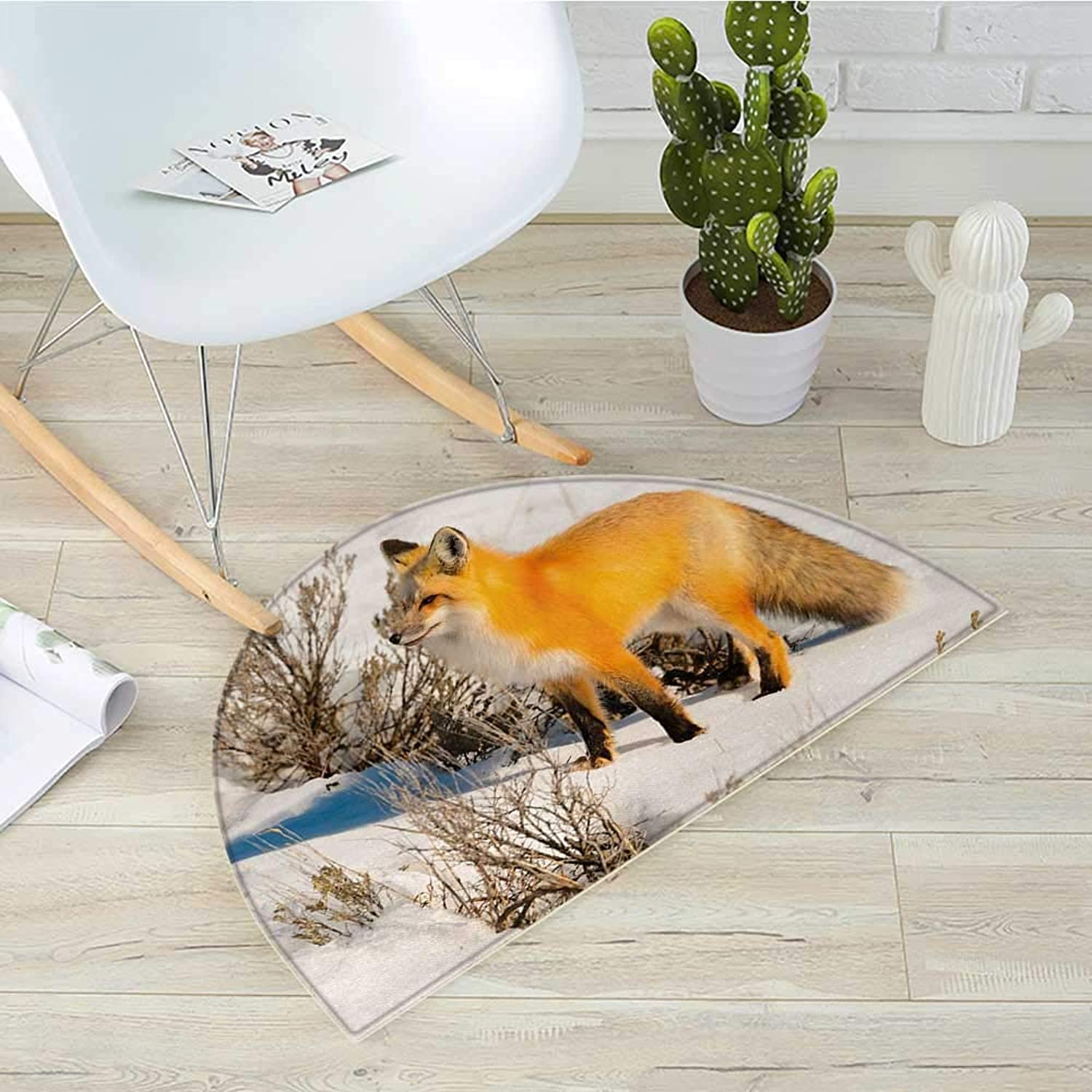 Fox Half Round Door mats Red Fox in Nature Snowy Mountain Cold Winter Scenery Wildlife Carnivore Image Bathroom Mat H 39.3  xD 59  Marigold Brown White