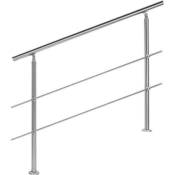Barandilla acero inox 2 varillas 160cm Pasamanos escalera Parapeto: Amazon.es: Oficina y papelería
