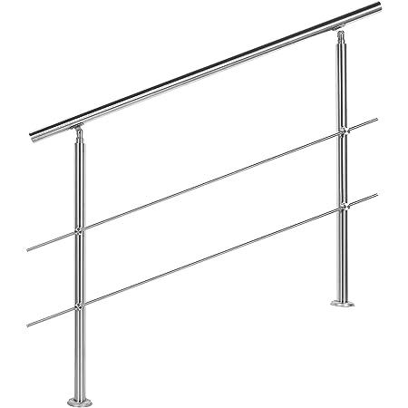 Barandilla acero inox 2 varillas 120cm Pasamanos escalera Parapeto