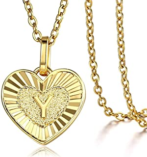 Trendsmax Heart Love Initial Letter A to Z Alphabet Pendant Necklace Gift for Women Girls Gold Plated Stainless Steel Rolo...