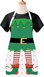 Merry Christmas Day Kids Apron Elfin Children Apron Green Cartoon Funny BBQ Apron for Child Christmas Party Gift Room