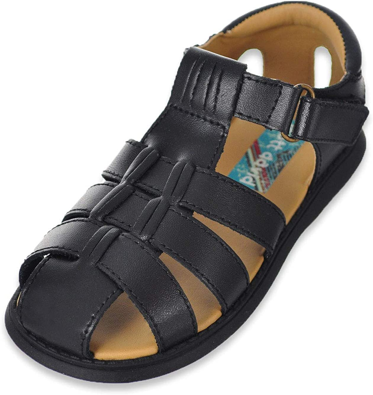 Scott David Boys' Sailor Sandals - Black, 10 Toddler