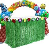Size: Approx 29inch (75cm) x 108inch (274cm) Material(s): Plastic/polyester Weight: 0.7 Pound With added artificial flowers along the top edge Time to celebrate some fun in the sun! These tropical natural colored grass table skirts are a great touch ...