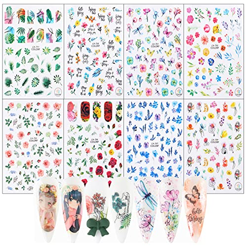 8 Sheets 3D Flowers Nail Art Stickers Colorful Holiday Nail Art Sticker Decals for Women Kids Girls Self Adhesive Nail Art Supplies for Acrylic Nails Spring Summer Manicure Wraps Decoration Kits