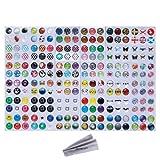 Wisdompro® - Adesivi per tasto Home, 216possibilità di scelta: pois, bolle colorate, emoji e affini, compatibili con Apple iPhone 4S, 5/5C/5S, 6/6 Plus, SE, iPod Touch 4, 5, 6, iPad 3, 4, Mini 2, 3 e Air 2